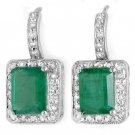 3.5 ctw Emerald & Diamond Earrings 14K White Gold