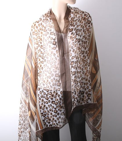 Stylish Animal Print Cotton Shawl-Brown Color Mix