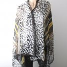 Stylish Animal Print Cotton Shawl - Black Color Mix