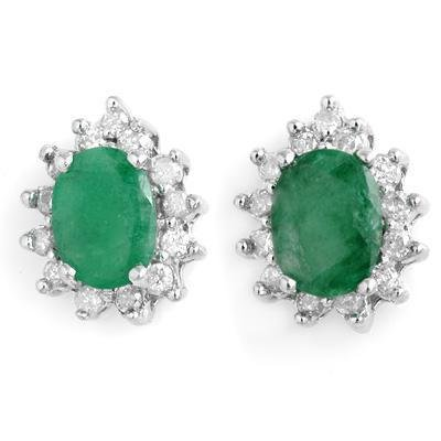 ACA Certified-3.85 ctw Emerald & Diamond Earrings 14K White Gold