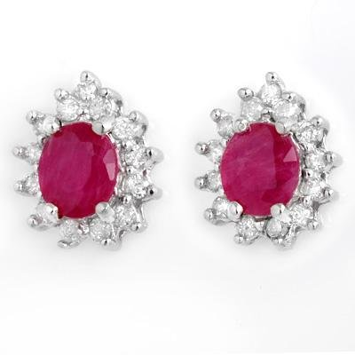 ACA Certified-4.44 ctw Ruby & Diamond Earrings 14k White Gold