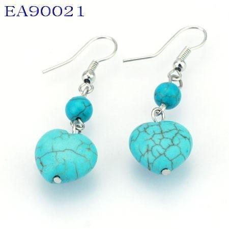 No:21 Genuine Handmade Silver Turquoise Earring