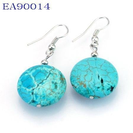 No:14 Genuine Handmade Silver Turquoise Earring