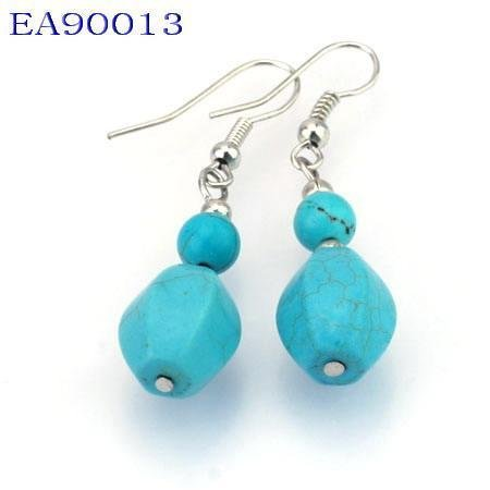 No:13 Genuine Handmade Silver Turquoise Earring