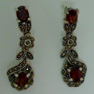 Vintage 3 ct Garnet & Marcasite Flower Shape Silver Dangle Earrings