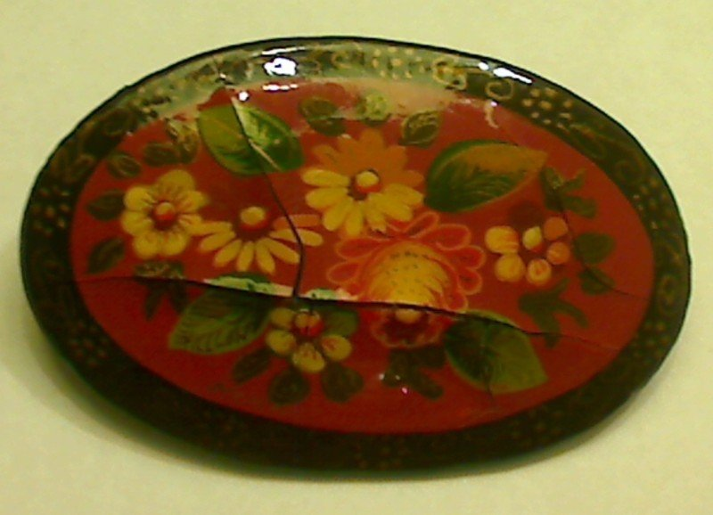 AUTHENTIC Russian Palekh or Mstera Hand Painted Flower Brooch Pin
