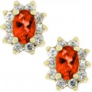14K Yellow GP Ruby Cubic Zirconia Stud Earrings