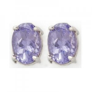 ACA Certified 2.0 ctw Tanzanite Stud Earrings 14K White Gold