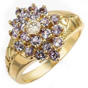 ACA Certified-1.04 ct Tanzanite & Diamond Ring Yellow Gold