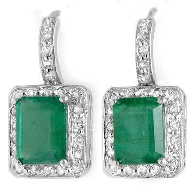 ACA Certified 3.5 ctw Emerald & Diamond Earrings 14K White Gold