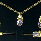 4 PC SET - 5 CT GENUINE AMETHYST PIERCED EARRING, PIN & PENDANT ON CHAIN SET