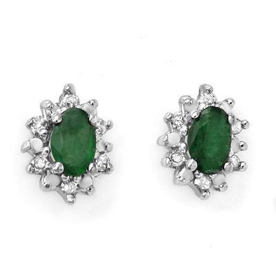 ACA Certified 0.61 ctw Emerald & Diamond Earrings in Yellow Gold