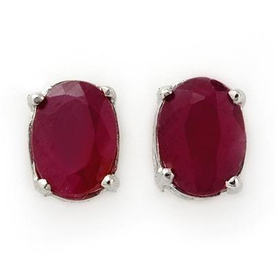 ACA Certified 1.50 ctw Ruby Stud Earrings 14K White Gold