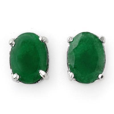 ACA Certified 2.0 ctw Emerald Stud Earrings 14K White Gold
