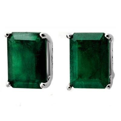 Certified 2.60 ct Emerald Stud Earrings 14K Gold