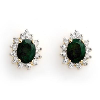 ACA Certified-3.85 ctw Emerald & Diamond Earrings 14K Yellow Gold