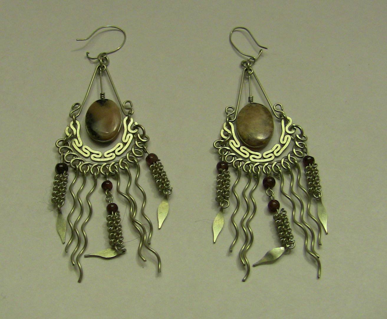 Vintage Long Dangle Handmade Silver Jasper & Garnet Earrings