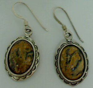 Vintage Dangle Sterling Silver Jasper Earrings