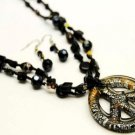 BLACK PEACE SIGN MURANO GLASS PENDANT TWO STRAND SET