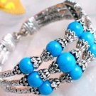 "Beautiful 7"" Tibet Silver 3-rows Turquoise Bracelet"