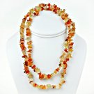 "Impressive 48"" Necklace with natural Agate chips"