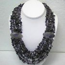 Genuine Amethyst 6 Strand 21 inch Handmade Necklace-over 500 ct-Retail $350