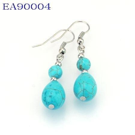 No:4 Genuine Handmade Silver Turquoise Earring