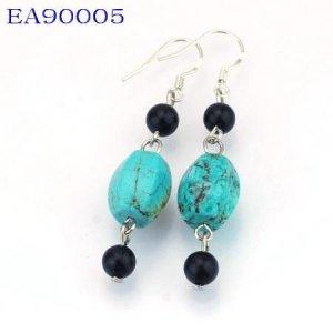 No:5 Genuine Handmade Silver Turquoise Earring