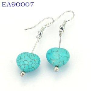 No:7 Genuine Handmade Silver Turquoise Earring