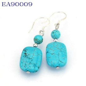 No:9 Genuine Handmade Silver Turquoise Earring