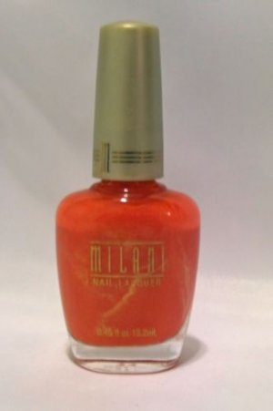 MILANI NAIL POLISH LACQUER #51 JUST JUICY - Coral Orange with Shimmer - RARE