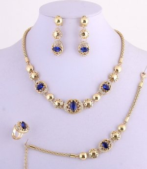Chic 18k Gold Plated Necklace Bracelet Earring Ring Set Rhinestone & Blue Lucite