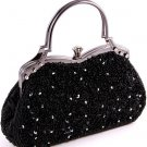 Black Glass Bead & Sequins Evening Bag - Silver Tone Antique Style Frame