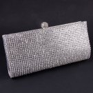High End Quality Clutch Silver Bag Genuine Austrian Crystal Rhinestone