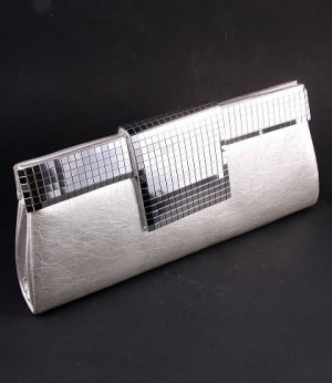 High End Quality Evening Clutch Bag with Sequins - Silver