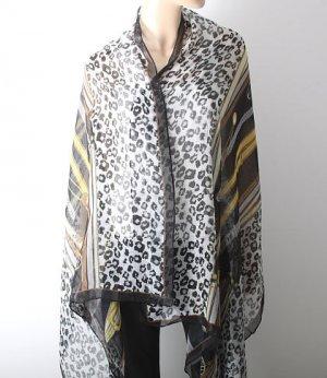 Very Large Animal Print Cotton Shawl - Brand New - Black Color Mix