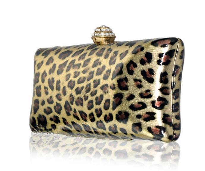 High End Luxury Leopard Clutch Austrian Crystal Rhinestone Evening Bag