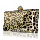High End Luxury Leopard Clutch Austrian Crystal Rhinestone Evening Bag