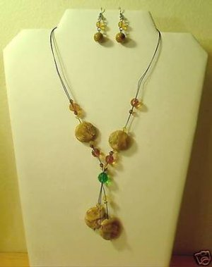 "17""-20"" Beautiful Jasper & Quartz Necklace & Earring Set"