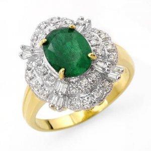 Certified-3.31 ctw Emerald & Diamond Ring 14K Yellow Gold-Retail $2,200.00