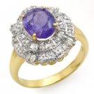 Certified-2.70ct Tanzanite & Diamond Ring 14K Yellow Gold-Retail $2,510.00