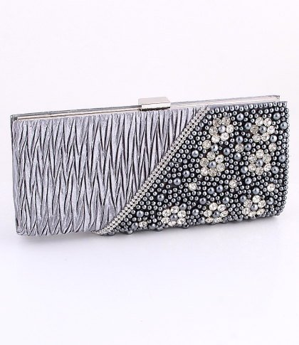 Gray - Evening Clutch Bag-Pearl-Crystal Rhinestone on Front Side-Satin