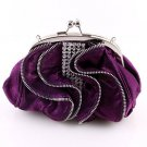 Satin Purple Evening Clutch Bag Silver Tone Frame Austrian Rhinestone Crystal