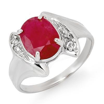 Certified-3.12ct Ruby & Diamond Ring 14k White Gold