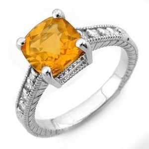 Certified-Genuine 3.25 ctw Citrine & Diamond Ring 14K White Gold