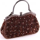 Brown Glass Bead & Sequins Evening Bag - Silver Tone Antique Style Frame