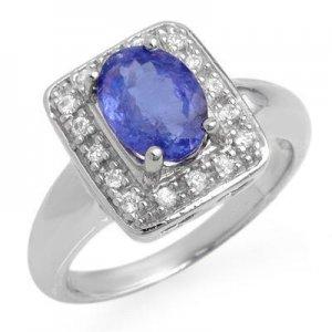 Certified-2.65ct Tanzanite & Diamond Ring White Gold-Retail $2,000.00