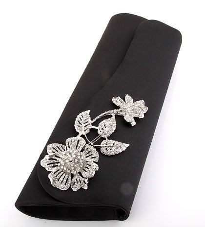 Black Evening Satin Clutch Bag Austrian Crystal Rhinestone Flower On Front