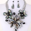 Stunning Black Shell & Pearl Necklace & Earring Set