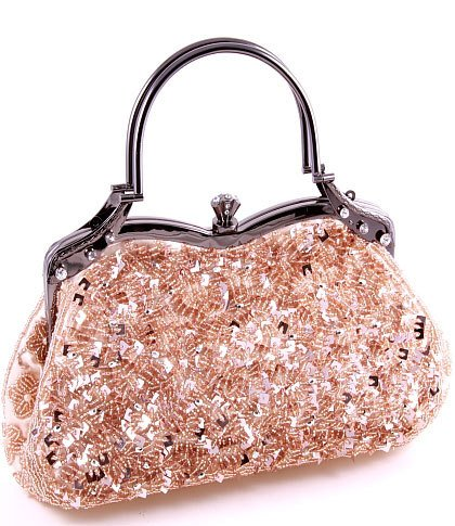 Champagne Glass Bead & Sequins Evening Bag - Silver Tone Antique Style Frame